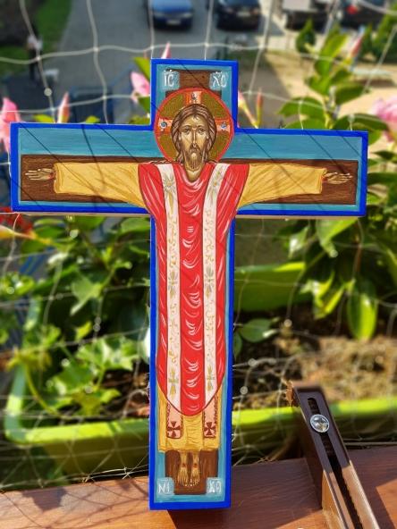 Ikona krzyża Jezus Chrystus Król i Wieczny Kapłan